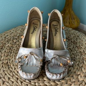 Sam Edelman Size 8 Silver Leather Wedge Moccasins